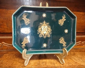 Antique French Heavy Aqua Teal Monogrammed Lunch Side Sandwich Plate Trinket Jewellery Dish circa 1900's / English Shop