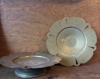 Vintage English butterfly embossed set of 2 elevated plates on stands circa 1940-50's / English Shop