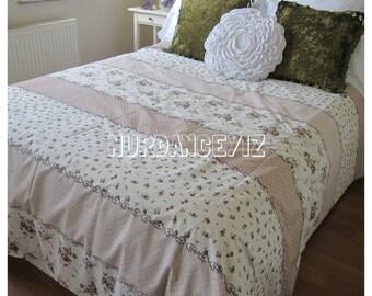 Brown beige cream print duvet cover - rose floral bedding -  cotton quilt doona cover Twin XL FULL Queen King size bedding NurdanCeyiz