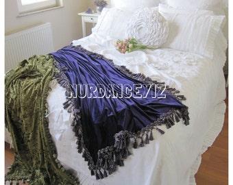 Velvet throw blanket -Bed scarf -Shabby chic luxury velvet bedding- fringe cozy decorative bed throws - bedspread, coverlet bed runner cover