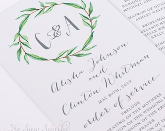 Printable Wedding Ceremony Program - LeafWreath