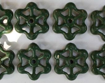 Valve handles- 8 Super Shabby Green Patina/Garden Spigot Handles/Water Knobs-Funky Metal Handles- Shipping Special
