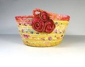 Clothesline Basket - Sunny Yellow and Melon -  Handmade Batik Coiled Rope Organizer - OOAK Fiber Art - Zipper Pin Ornament