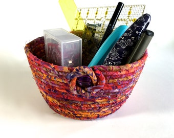 Coiled Rope Basket Clothesline - Red Gold Multi Rayon Batik - Upcycled Planter - Fiber Art Organizer by Sally Manke - Autumn Sewing Bowl