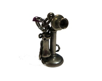 Sterling Silver Candlestick Telephone Charm Pendant