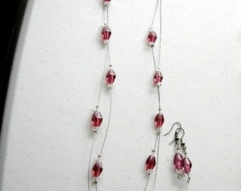 20% Off CIJ Sale Flash Sale Vintage Raspberry Red Glass Necklace & Earring Set / DELICATE Geometric Pink Valentine's Day Eclectic Modern Lay