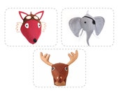 DIY Animal Sewing Pattern, Aviator Fox, Reindeer, Deer, Moose, Pirate Elephant Decor, Discount Buy 3 Get One 1/2 Off