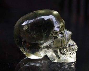 "CLEAR & RAINBOWS 1.5"" Natural Citrine Carved Crystal Skull 1.41 OZ Healing C0690"