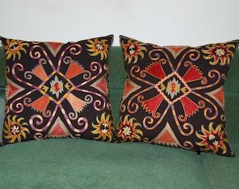 Beautiful  handmade  SET OF TWO  Lakay  flowers pattern Suzani Pillow Cover cushion  original silk  19.5 x 19.5 inch