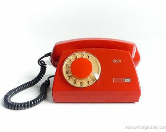 Vintage 70s Red Rotary Phone Dial Telephone Shiny Red
