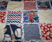 RESEVE for Renee' - Baseball Rag Quilt - Twin Size Rag Quilt - Baseball Quilt - Rag Quilt - Twin Size Quilt - Twin Baseball Rag Quilt