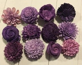 Purple Sola flowers  -- SET of 30 -- Mixed styles and shades