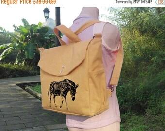 Holiday On Sale 10% off Yellow cotton canvas backpack, handbag, messenger bag travel bag, shoulder bag, rucksack