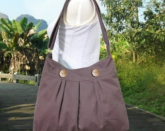 Halloween Sale 10% off brown cotton canvas shoulder bag / travel bag / messenger bag / diaper bag / cross body bag, zipper closure