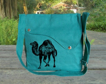 Personalized screenptinted turqoise green cotton canvas messenger bag, shoulder bag, crossbody bag, travel bag.