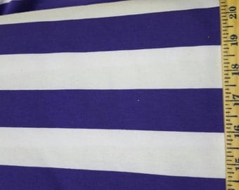 Wide Purple & White Cotton Lycra Stripe KNit Fabric