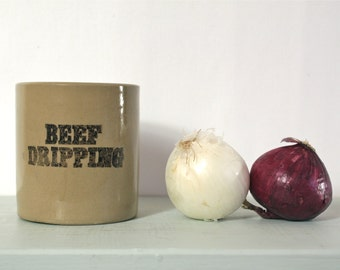 Vintage Stoneware Beef Dripping Jar from Pearsons of Chesterfield