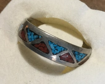 Turquoise and coral sterling band    VJSE