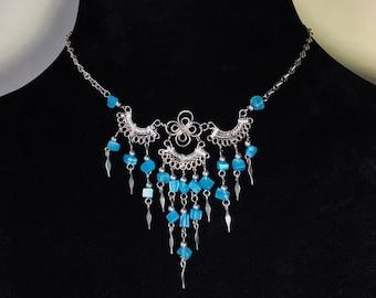 "Vintage Silver & Periwinkle Blue Beaded Chandelier Bib Necklace 20"""
