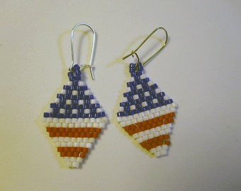 Red White and Blue Bead Earrings