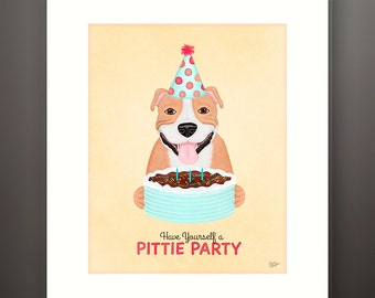 Pittie Party - Matted Giclée Art Print
