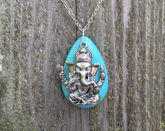 Turquoise ganesha necklace