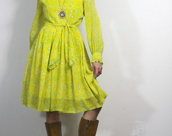 Vintage Psychedelic Dress 60s 70s Yellow Lime Green Print Dress
