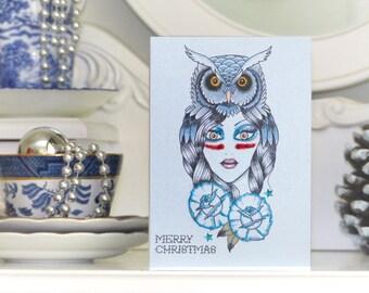 Goddess of Winter Nights wearing an owl headdress tattoo handmade Christmas card