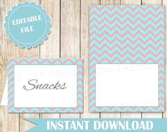 Buffet Food Label - Buffet Label - Printable Food Label - Party Labels Food Card Wedding Place Card Coral Teal Seating Card INSTANT DOWNLOAD