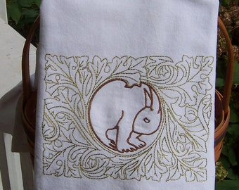 Rabbit in a Thicket Tea Towel, Embroidered Tea Towel, Embroidered Kitchen Towel, Embroidered Kitchen Dish Towel, Embroidered Dish Towel