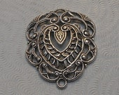 LuxeOrnaments European Filigree Antiqued Sterling Silver Plated Brass Victorian Pendant (Qty 1) 27x20mm A-30511-S