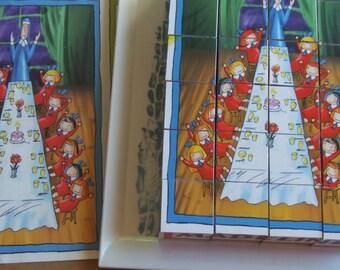 Vintage Madeline Blocks Puzzle. 6 Different Picture Puzzles.