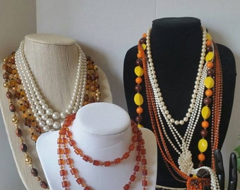Brown and Cream Beaded Necklace Lot