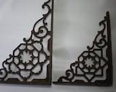 Pair of Vintage Ornate Mismatched Cast Iron Metal Old Brackets or Braces