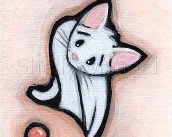 Original Cat Mini Painting, ACEO, Trading Card, Shelly Mundel Art