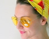 1990s AVIATOR Sunglasses. aviator. yellow. tint. retro. shades. sunglasses. womens. rad. boho. urban. hipster. indie. hippie. twiggy. unisex