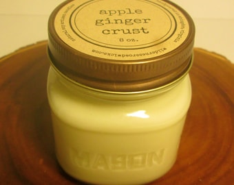 Apple Ginger Crust 8 oz. Soy Mason Jar Candle // Wood Wick // Fall/Holiday/Winter Scent