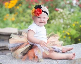 Halloween Tutu Baby or Girl with Flower Headband - Baby Halloween Tutu Skirt - Orange and Black Tutu