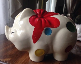 vintage piggy bank, ceramic bank, pig collectible, gift for pig lover, midcentury savings bank