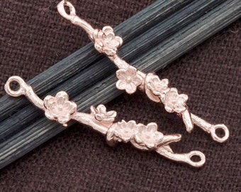 2 of 925 Sterling Silver Rose Gold Vermeil Style Flower Branch Links,Connectors  5x28 mm.  :pg0183