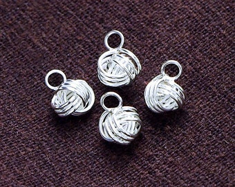 4 of 925 Sterling Silver Love Knot Charms 6 mm. :tk0049