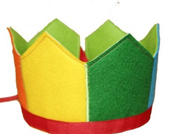 Rainbow 6 panel Wool Felt Crown