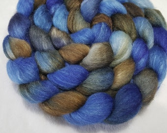 BFL/Tussah 75/25 Roving - 4 oz - Hand Painted - Blue and Brown