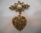 Vintage Gold Toned Filigree Heart & Faux Pearl Rhinestone Dangle Scarf Pin Brooch/Costume Jewelry Broock/Gold Brooch/Heart Pin