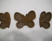 Butterflys Wall Hangings By Burwood Plaques 1987 Set of 3 Brown Wicker Look