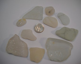 Genuine Craft White Patterned Sea Glass From the Pacific Northwest Craft Or Project Glass