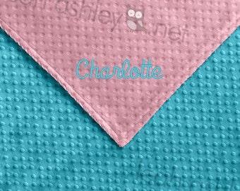 Baby Blanket - Turquoise MINKY Dot, Pink MINKY Dot - Annabelle - BB1