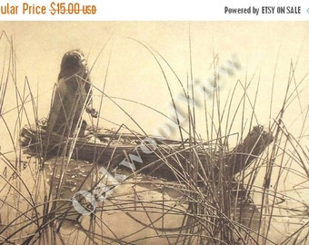 ON SALE Pomo Canoe of Tules Print by Edward S. Curtis, Native American Indian Woman, Vintage 14x17 Sepia Book Plate, Tribal Ethnic, Free Shi