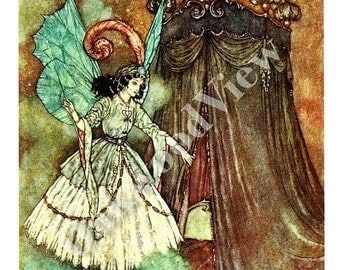 ON SALE Beauty & The Beast Stately Lady Print by Edmund Dulac, Fairy Woman, Vintage 8x11 1975 Children's Fairy Tale Bookplate Art, FREE Ship