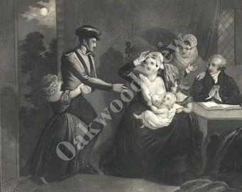 The Soldier's Return Black & White Engraving, Mother Children Grandparents, Family, War, Antique 1854 6x9 Art, FREE SHIPPING